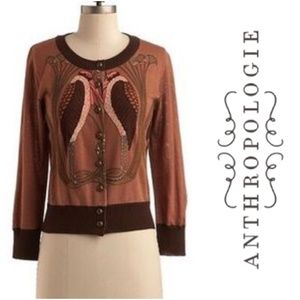 Anthro Knitted Dove Birds Of Feather Cardigan